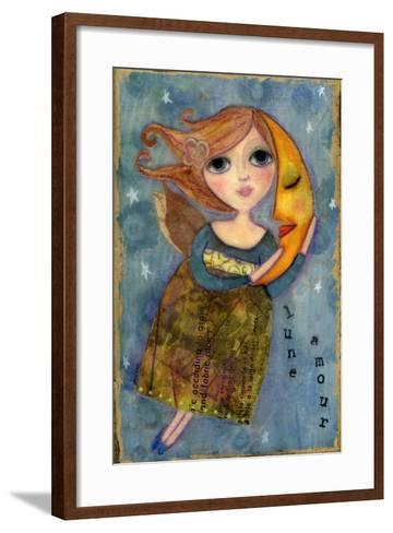 Big Eyed Girl Moon Love-Wyanne-Framed Art Print