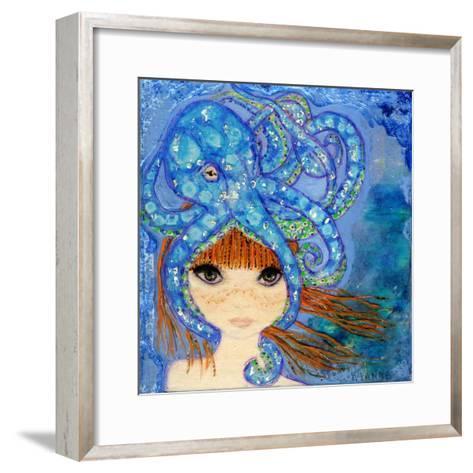 Big Eyed Girl Ocean Blue-Wyanne-Framed Art Print