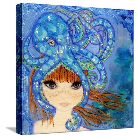 Big Eyed Girl Ocean Blue-Wyanne-Stretched Canvas Print