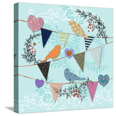 Birds and Hearts-Art Licensing Studio-Stretched Canvas Print