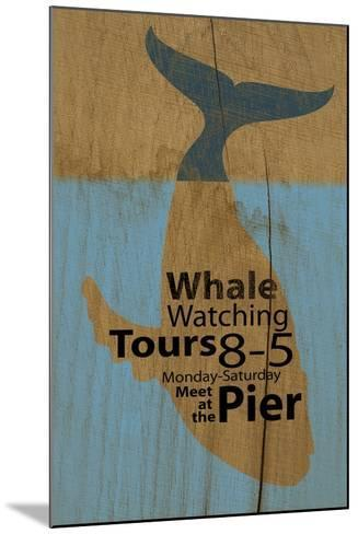 Whale Sign on Wood #2-J Hovenstine Studios-Mounted Giclee Print