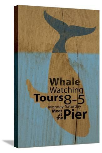 Whale Sign on Wood #2-J Hovenstine Studios-Stretched Canvas Print