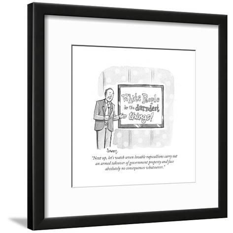 """Next up, let's watch seven lovable rapscallions carry out an armed takeov?"" - Cartoon-Benjamin Schwartz-Framed Art Print"
