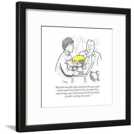 """""""Keep him out of the light, don't give him any water, and no matter how mu?"""" - Cartoon-Benjamin Schwartz-Framed Art Print"""