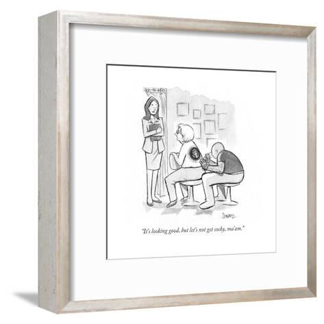 """It's looking good, but let's not get cocky, ma'am."" - Cartoon-Benjamin Schwartz-Framed Art Print"