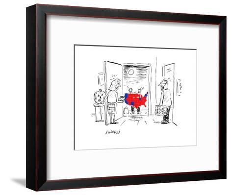 Scary Electoral Map Costume - Cartoon-David Sipress-Framed Art Print