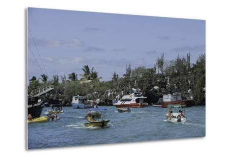 The Busy Harbor at Puerto Ayora, Galapagos Islands-Jad Davenport-Metal Print