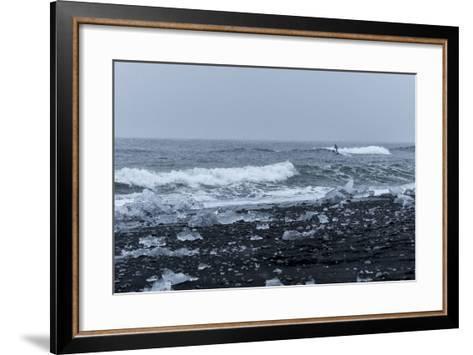 Surfer Finds a Wave at Jokulsarlon, South Iceland-Chad Copeland-Framed Art Print
