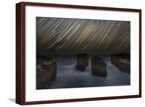 Time-Exposure of Star Trails Above the Shore of Southern Ocean in Victoria, Australia-Babak Tafreshi-Framed Art Print