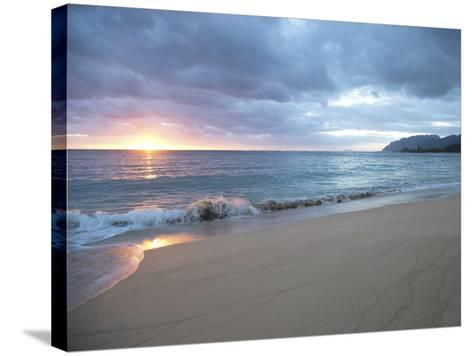 Waves Roll on Beach During Sunrise-Chad Copeland-Stretched Canvas Print