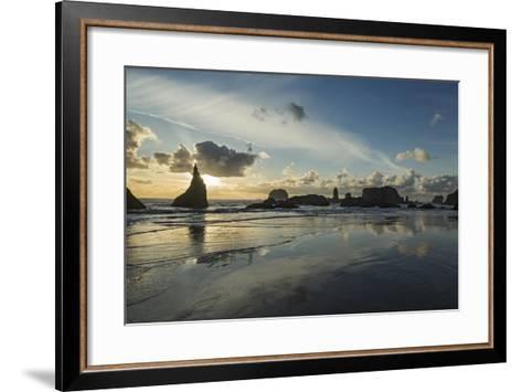 Seascape with Pinnacles at Bandon Beach in Bandon, Oregon-Macduff Everton-Framed Art Print