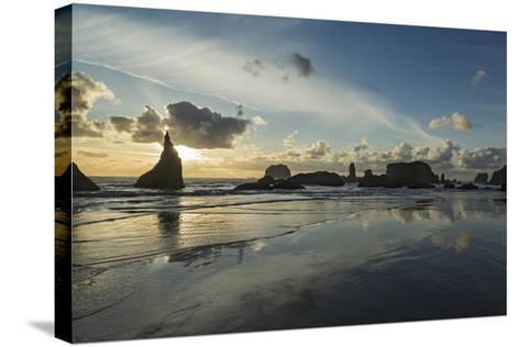 Seascape with Pinnacles at Bandon Beach in Bandon, Oregon-Macduff Everton-Stretched Canvas Print