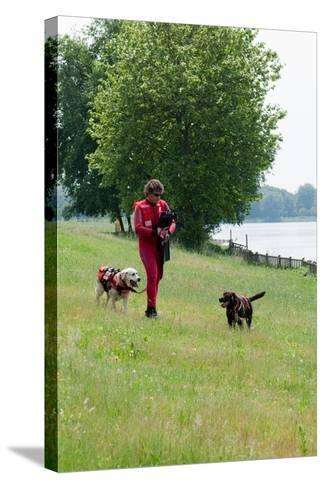 Instructors Work with Dogs Trained for Rescue at Sea Near a Lake Near Milan, Italy-Lori Epstein-Stretched Canvas Print