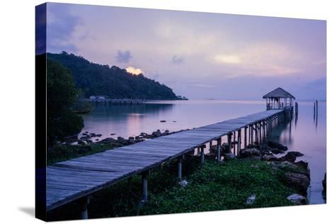 A Dock on an Island in Cambodia's Kompong Som Region-Hannah Reyes-Stretched Canvas Print