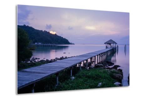 A Dock on an Island in Cambodia's Kompong Som Region-Hannah Reyes-Metal Print