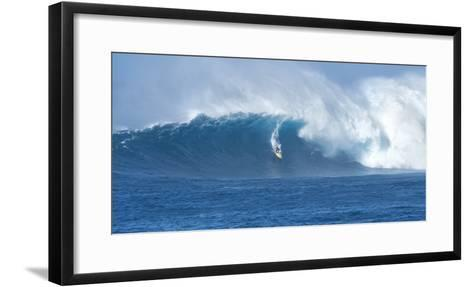 Surfer Riding a Maverick Wave on the North Shore of Maui-Chad Copeland-Framed Art Print