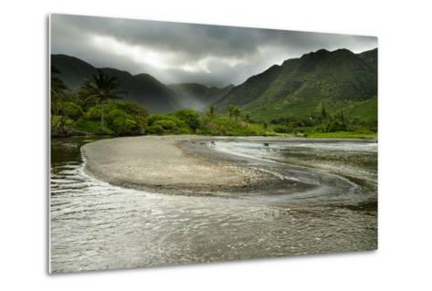 Fresh Water from Halawa Valley Empties into the Pacific Ocean on the Shore of Molokai-Jonathan Kingston-Metal Print