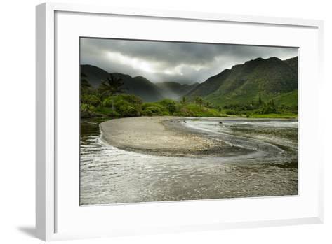 Fresh Water from Halawa Valley Empties into the Pacific Ocean on the Shore of Molokai-Jonathan Kingston-Framed Art Print