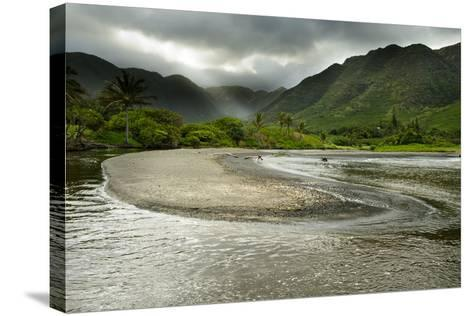 Fresh Water from Halawa Valley Empties into the Pacific Ocean on the Shore of Molokai-Jonathan Kingston-Stretched Canvas Print