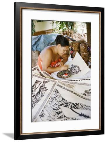 An Artist Works on Traditional Tapa Drawings-Dmitri Alexander-Framed Art Print