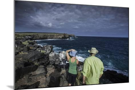 Tourists Looking Out at the Sea Cliffs of Espanola Island-Jad Davenport-Mounted Photographic Print
