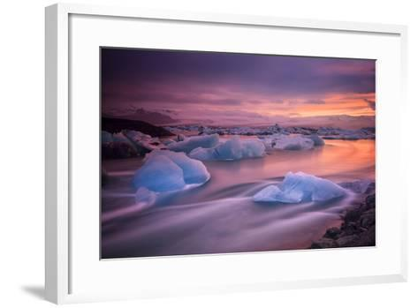 A Long Exposure of a Sunset over Glacier Bay in Iceland-Keith Ladzinski-Framed Art Print