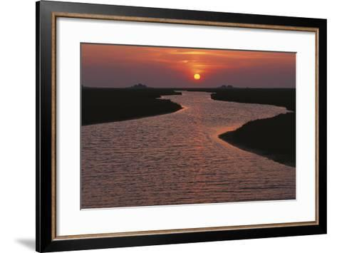 Dwelling Mounds in the Wadden Sea at Sunset-Norbert Rosing-Framed Art Print