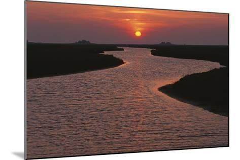 Dwelling Mounds in the Wadden Sea at Sunset-Norbert Rosing-Mounted Photographic Print
