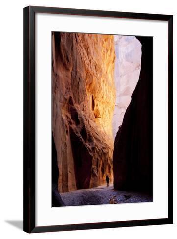 Hiker in Paria Canyon, Arizona-John Burcham-Framed Art Print