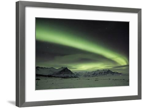The Aurora Borealis in Iceland with Mountains in the Background-Alex Saberi-Framed Art Print
