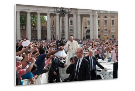 Pope Francis Attends His Weekly Audience in Saint Peter's Square-Lori Epstein-Metal Print