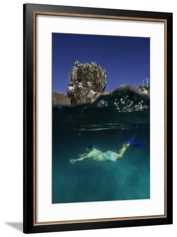 A Snorkeler Swimming Underwater-Jad Davenport-Framed Art Print