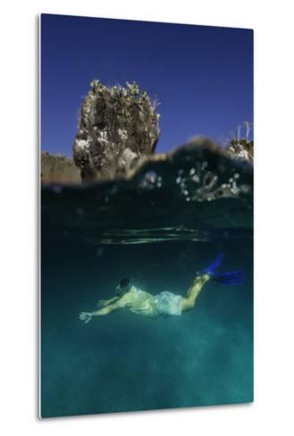 A Snorkeler Swimming Underwater-Jad Davenport-Metal Print