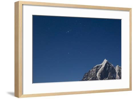 Himalayan Mountain Range Against Blue Sky with Stars at Night in the Khumbu Region-John Burcham-Framed Art Print