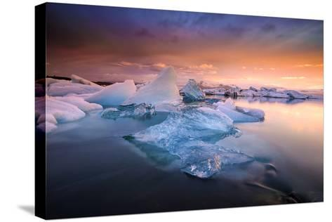 Sunset over Glacier Bay in Iceland-Keith Ladzinski-Stretched Canvas Print
