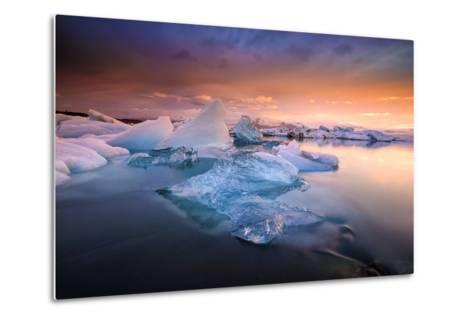 Sunset over Glacier Bay in Iceland-Keith Ladzinski-Metal Print