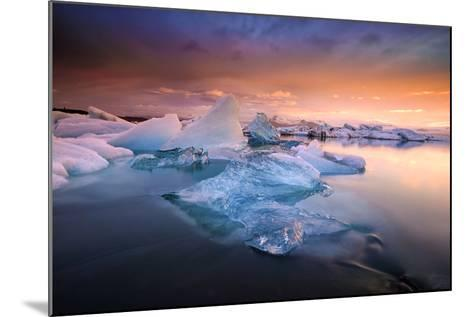 Sunset over Glacier Bay in Iceland-Keith Ladzinski-Mounted Photographic Print