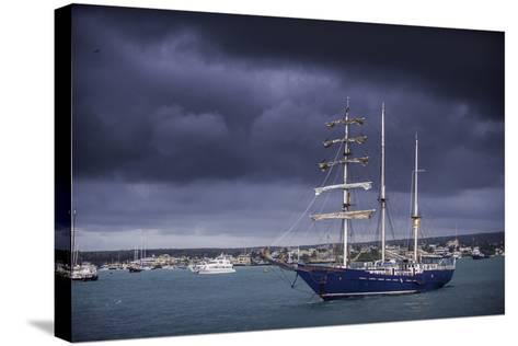 Ships Moored at Puerto Ayora Harbor-Jad Davenport-Stretched Canvas Print