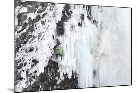 Ice Climber Tooling Ice at Helmcken Falls in British Columbia-Chad Copeland-Mounted Photographic Print
