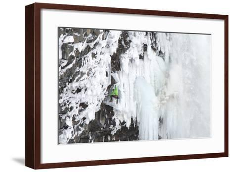 Ice Climber Tooling Ice at Helmcken Falls in British Columbia-Chad Copeland-Framed Art Print