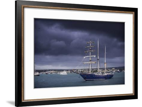 Ships Moored at Puerto Ayora Harbor-Jad Davenport-Framed Art Print