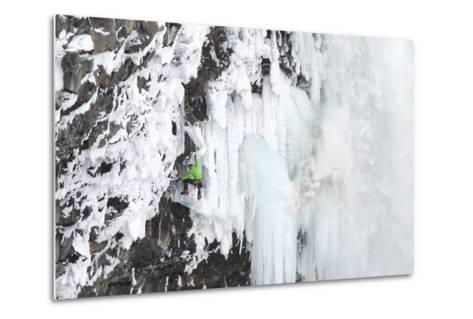 Ice Climber Tooling Ice at Helmcken Falls in British Columbia-Chad Copeland-Metal Print