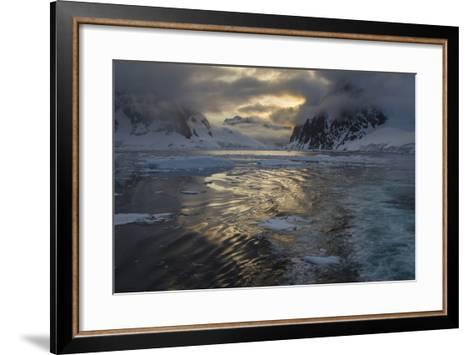 Late Night Sun in the Lamaire Channel-David Griffin-Framed Art Print