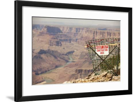Warning Sign at Grand Canyon National Park, Arizona-John Burcham-Framed Art Print