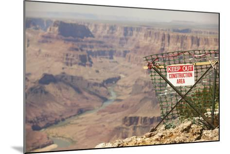 Warning Sign at Grand Canyon National Park, Arizona-John Burcham-Mounted Photographic Print