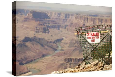 Warning Sign at Grand Canyon National Park, Arizona-John Burcham-Stretched Canvas Print