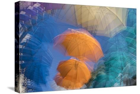 Umbrellas on Display in a Shopping Center in the Capital of Port Louis-Gabby Salazar-Stretched Canvas Print