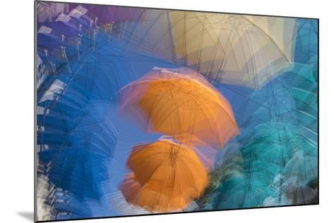 Umbrellas on Display in a Shopping Center in the Capital of Port Louis-Gabby Salazar-Mounted Photographic Print