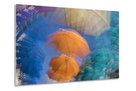 Umbrellas on Display in a Shopping Center in the Capital of Port Louis-Gabby Salazar-Metal Print