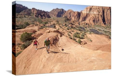 A Man and Woman Hiking in Snow Canyon State Park, Utah-John Burcham-Stretched Canvas Print